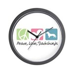 Peace, Love, Dachshunds Wall Clock
