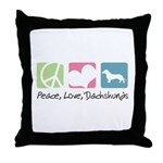 Peace, Love, Dachshunds Throw Pillow