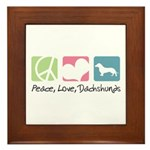 Peace, Love, Dachshunds Framed Tile