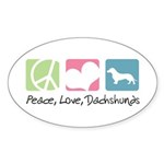 Peace, Love, Dachshunds Sticker (Oval 10 pk)