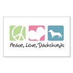 Peace, Love, Dachshunds Sticker (Rectangle 50 pk)