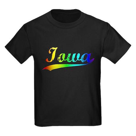 Iowa, Vintage Rainbow Kids Dark T-Shirt