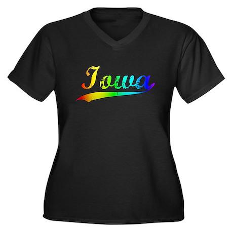 Iowa, Vintage Rainbow Women's Plus Size V-Neck Dar