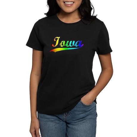 Iowa, Vintage Rainbow Women's Dark T-Shirt