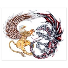 Griffin Fighting Dragon Poster