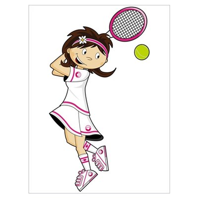 Cute Little Tennis Girl Canvas Art