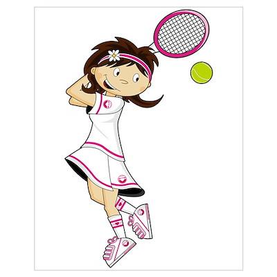 Cute Little Tennis Girl Poster
