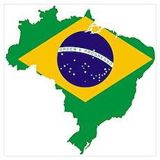 Brazil Flag/Map Poster