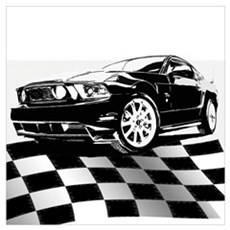 2011 Mustang Flag Canvas Art