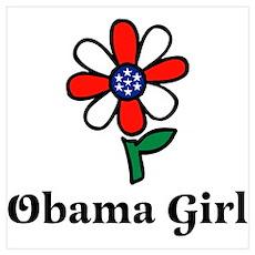 Obama Girl Flower Poster