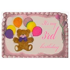 Girl 3rd Birthday Poster