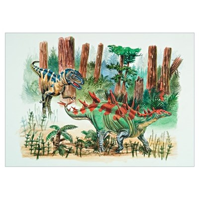 Dinosaur Acrylic on Watercolor Poster
