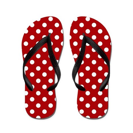 Red and White Polka Dot Flip Flops