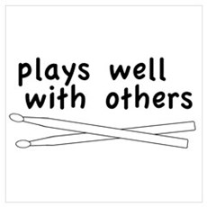 Plays Well (Drums) Framed Print