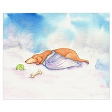 Dachshund Cloud Angel Framed Print
