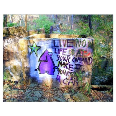 """""""Live Now' Graffiti Sign Poster"""