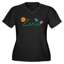 Zaria Flowers Women's Plus Size V-Neck Dark T-Shir