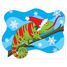 Christmas Chameleon Poster