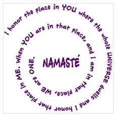 Namaste and its Meaning in Sacred Purple Large Fra Framed Print