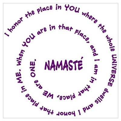 Namaste and its Meaning in Sacred Purple Large Fra Poster