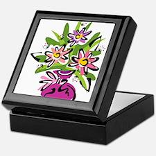 Flowers in a Pink Vase Keepsake Box