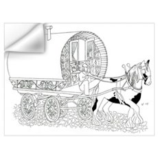 Gypsy Wagon Color Your Own Wall Decal