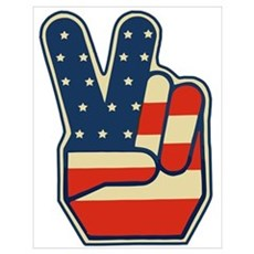 USA PEACE SIGN Poster