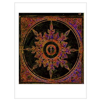 Red Wind Rose Poster