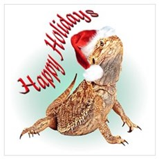 Bearded Dragon Santa Poster