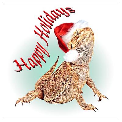 Bearded Dragon Santa Poster