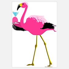 Pink Flamingo Drinking Martini