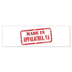 MADE IN APPALACHIA,VA Bumper Sticker