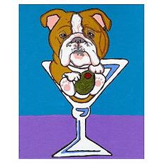 English Bulldog Martini Poster