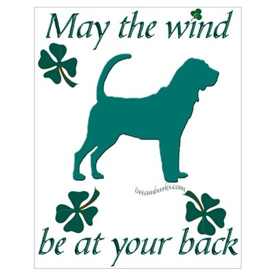 Bloodhound and Shamrocks Poster