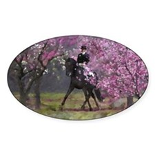 Spring Half Pass Dressage Horse Oval Decal