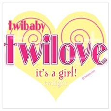 Twibaby Twilove It's A Girl! Pink and Yellow Large Poster