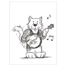 CatoonsT Banjo Cat Canvas Art