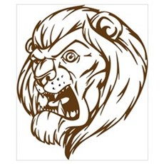 Lion Mascot (Brown) Poster