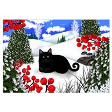 BLACK CAT WINTER BERRIES Canvas Art
