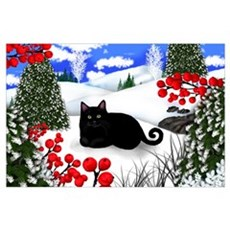 BLACK CAT WINTER BERRIES Poster