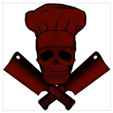 Chef Skull--dark red- Poster