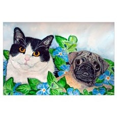 Emmet the Pug and Oreo the Cat Poster