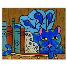 Fairy Cat on Book Shelf Poster