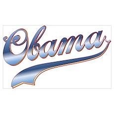 Obama Baseball Style Swoosh Poster