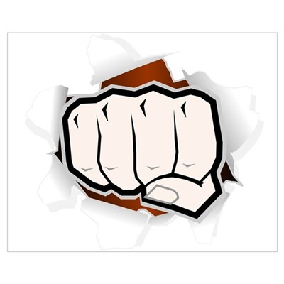 PUNCHING FIST Framed Print