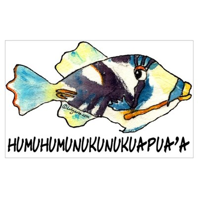 Humuhumu fish poster for Hawaii state fish humuhumunukunukuapua a pronunciation