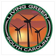 Living Green South Carolina Wind Power Large Frame Poster