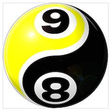 8 Ball 9 Ball Yin Yang Poster
