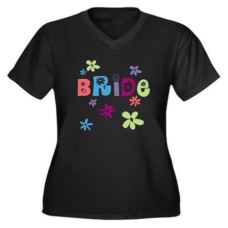 Happy Bride Women's Plus Size V-Neck Dark T-Shirt