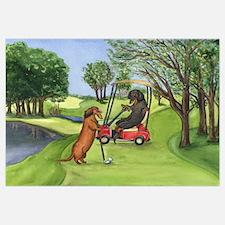 Dachshunds Golfing